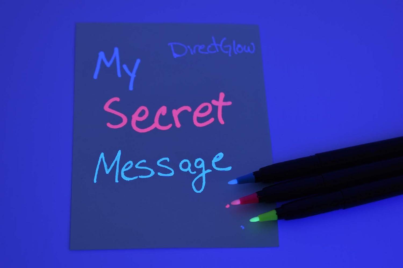 Blacklight Marker Secret Pen Ink UV Invisible Security Hidden Blue Red Yellow