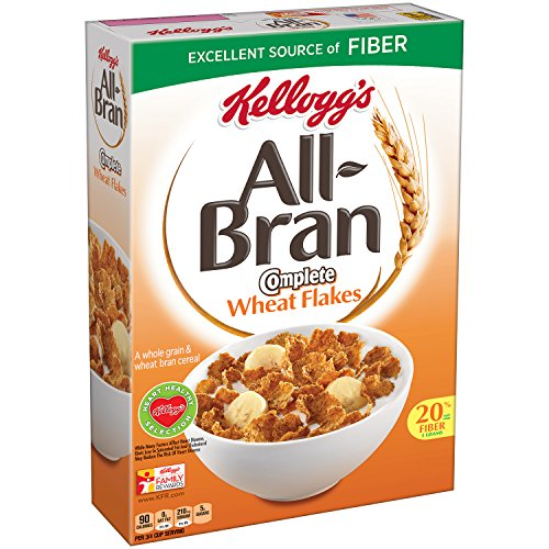 Wheat Bran Cereal - All-Bran Kellogg's Complete Wheat Flakes, Breakfast Cereal, Excellent Source of Fiber, 18 oz Box(Pack of 2)