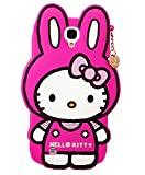 Lovely 3D Cartoon Long Ear Hello Kitty Rabbit with Pendant Soft Rubber Cover Silcione Case (for Samsung Galaxy S4 i9500 -Rose Color)