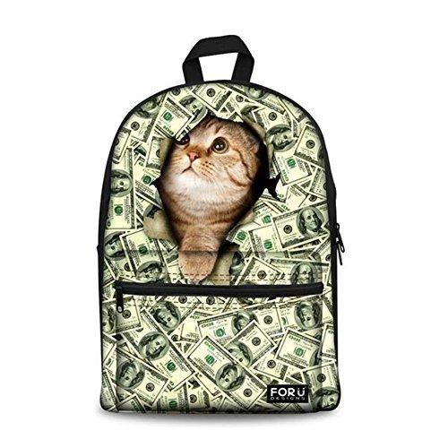 Bigcardesigns Money Cat Canvas Bookbag Backpack [並行輸入品]   B078BQNCTQ