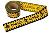 TorxGear Kids Barricade Danger Tape - Yellow and Black Skull and Crossbones - 300' Roll of Barricade Tape for Halloween Parties or Construction Use
