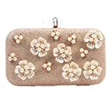 Santimon Women Clutch Wallet On Sale Glitter Floral Pearls Rhinestones Purses Crossbody Bag With Removable Strap
