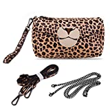 Sixteen18 Womens Leopard Print Purse Animal Face Boxy Handbag w/3 Detachable Straps