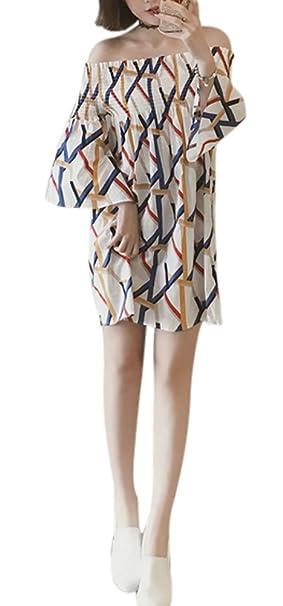 QZUnique Women\'s Plus Size Stripe Off Shoulder Midi Dresses Loose ...