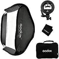 Godox 24x24inch/60x60cm Foldable Softbox Kit with S-Type Bracket Bowen Mount Holder for Camera Studio Photography
