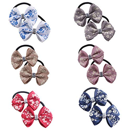 (12PCS Baby Girl Elastic Hair Rubber Bands Small Bowknot Ponytail Holder No Crease Toddler Hair Ties Rope Headdress Accessories)
