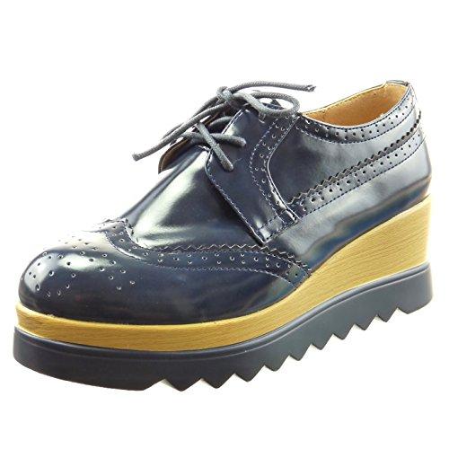 Sopily - Scarpe da Moda scarpa derby zeppe alla caviglia donna perforato Tacco zeppa 5.5 CM - Blu