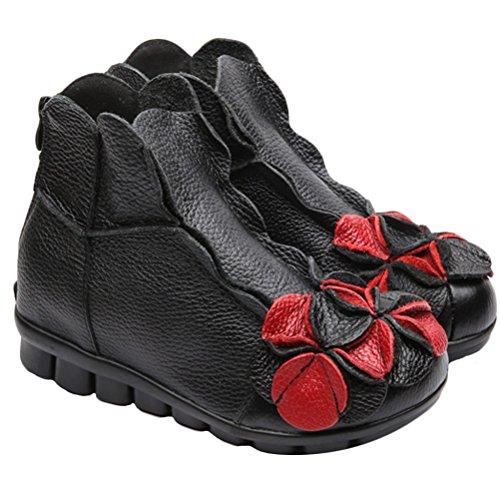 MatchLife Damen Vintage Leder Stiefel Blumen Kurze Boots Style1-Schwarz