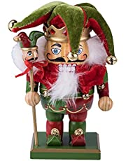 """Clever Creations Chubby Jester Nutcracker   Red and Green Joker Outfit with Hat, Bells, & Scepter   Festive Traditional Christmas Decor   7.25"""" Tall Perfect for Any Collection   100% Wood"""