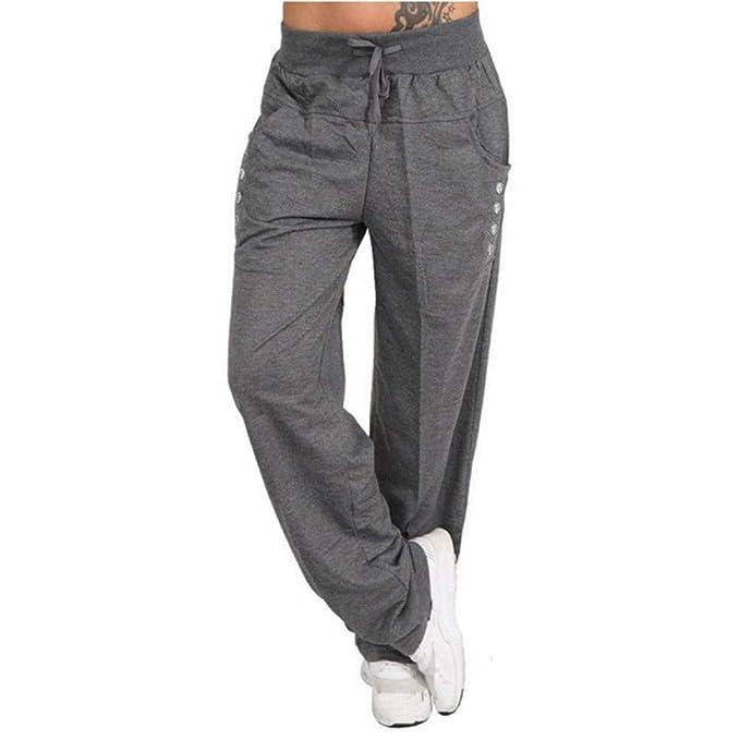 Zilosconcy Pantalones de chándal cagados para Mujer en Cierre de Cordones Hippie Pantalón Deportivos de harén de Mujeres Boton de Decoracion