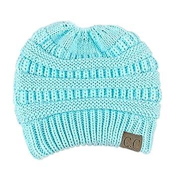 f75b9e5f1de07 Amazon.com  CC Ponytail Beanie Hat Women Crochet Knit Cap Winter Skullies  Beanies Warm Caps Female Knitted Stylish Hats Ladies Fashion (Light Blue)   ...