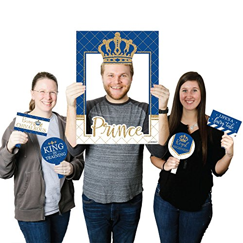 Prince Blue Frame (Big Dot of Happiness Royal Prince Charming - Baby Shower or Birthday Party Selfie Photo Booth Picture Frame & Props - Printed on Sturdy Material)