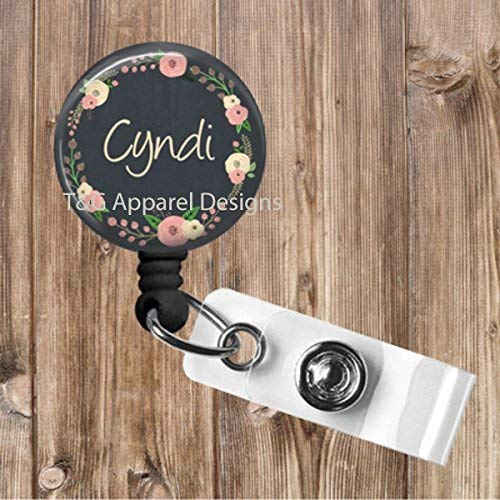 Personalized Chalkboard Roses Wreath No Twist Retractable Badge Reel Badge Holder Office,Teacher,Nurse