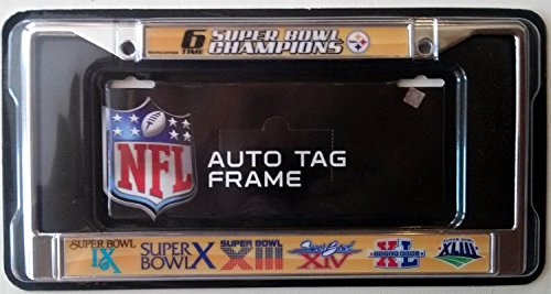 Pittsburgh Steelers 6x Champions Metal Chrome License Plate Frame Cover ()