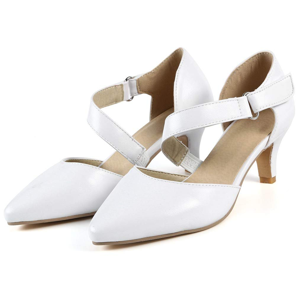 Sharemen Womens Classic Low Mid Heels Shoes- Pointed, Closed Toe Low, Kitten Heel Pumps(White,US: 7) by Sharemen Shoes (Image #2)