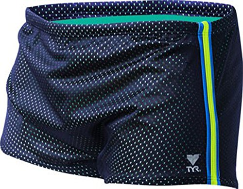 TYR SPMT2A Men's Poly Mesh Trainer Short, Navy/Yellow/Blue - 38 (Resistance Short Tyr)