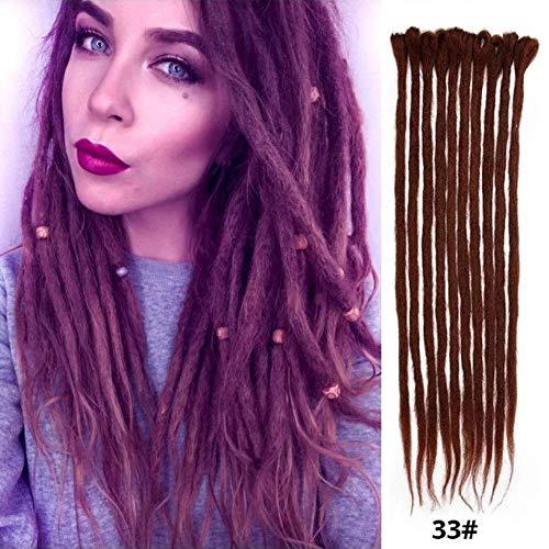 Dsoar Dreadlock Extensions For Women/Men Handmade Synthetic Dreads 20 inch 12 Strands Fashion Hip-Hop Style Crochet Braiding Hair(33#,Chocolate - Crochet Double Strand