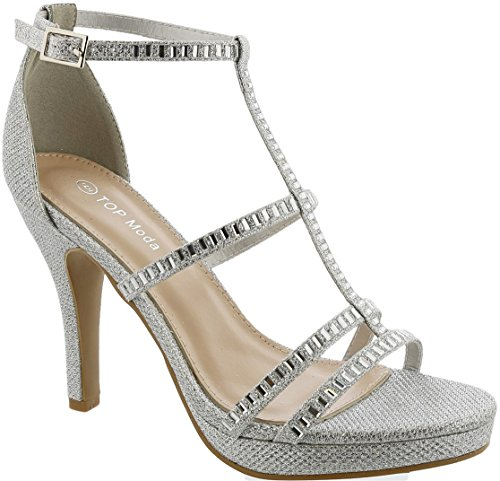 Top Moda INNA-6 Women's Ankle Strap High Heel Open Peep Toe Sandals (8, Silver)