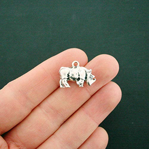 (2 Rhino Charms Antique Silver Tone 3D Rhinoceros)