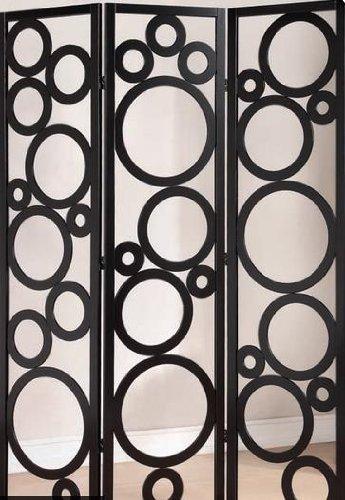 finish wood circles design room divider screen ()