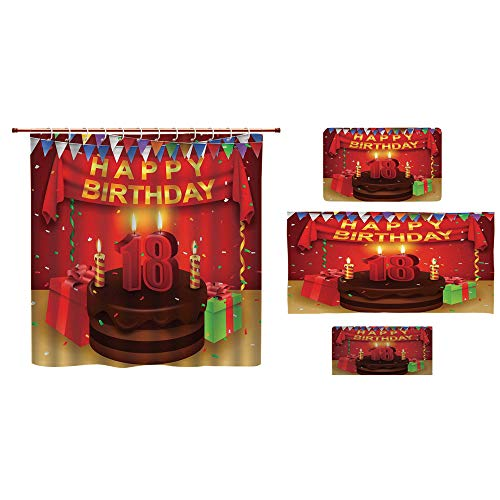 iPrint Bathroom 4 Piece Set Shower Curtain Floor mat Bath Towel 3D Print,Happy Birthday Party with Curtains Cakes Baloons,Fashion Personality Customization adds Color to Your Bathroom. -
