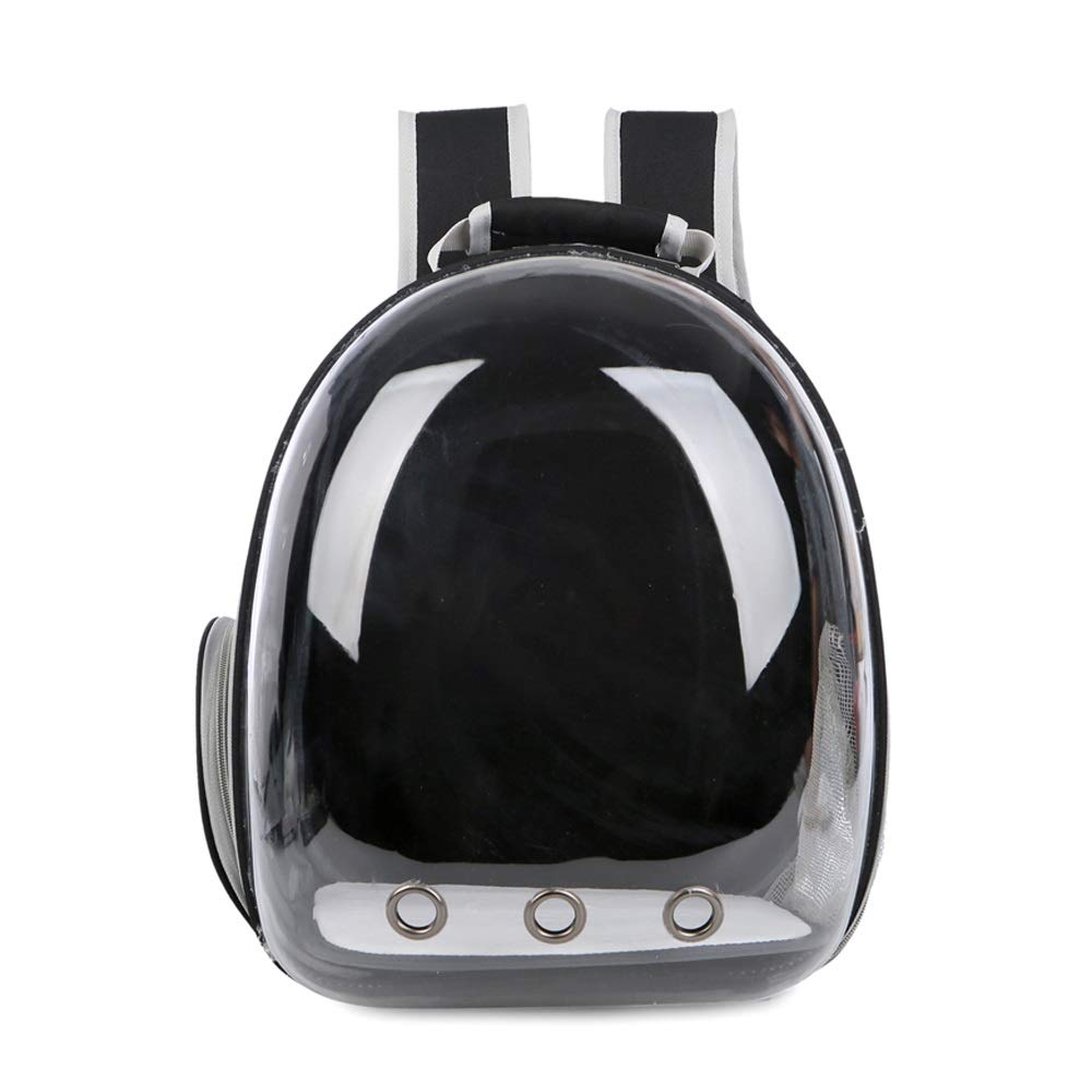 BLACK Pet Space Pack Portable Outing Cat Bag Transparent Cabin Breathable Dog Backpack Size 34x25x42CM A_ (color   BLACK)
