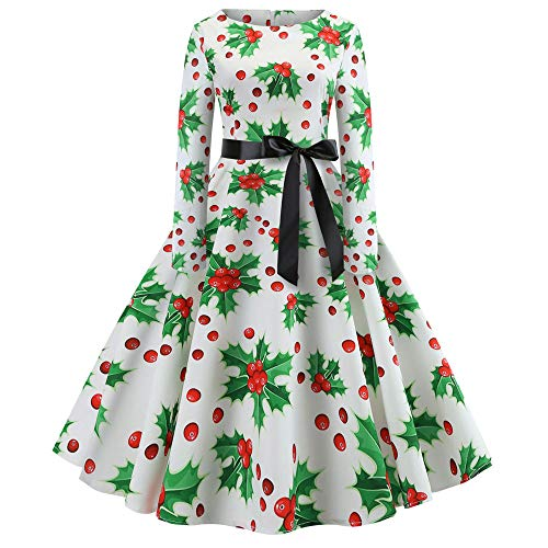 Women Dresses Godathe Women's Vintage Print Long Sleeve Christmas Evening Party Swing Dress S-XXL -