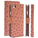 Apple iPhone 6/6S Case | iCues Ostrich Caramel | Maraba Wallet | Other Leather - and Color Variations Available | Protective Cover with Card Slots - Kickstand and Gift Box | Flip Folio