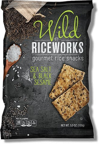 Wild Riceworks Sea Salt & Black Sesame Gourmet Rice Snacks 5.5 oz (6 packs)