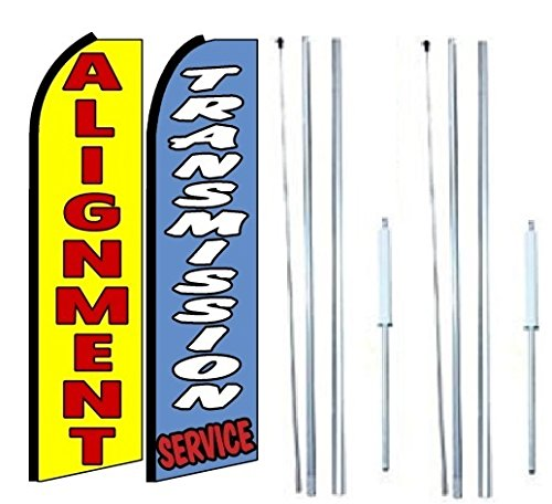 Alignment Transmission Service King Swooper Flag Sign with Complete Hybrid Pole Set - Pack of 2