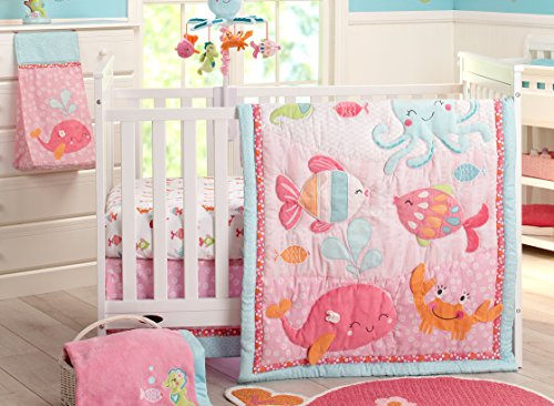Carter's Sea Collection 4 Piece Crib Set, Pink/Blue/Turquoise - New Carters Baby Crib