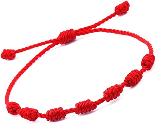 Pulsera roja 7 Nudos. Amuleto del Kabbalah, para la protección y el Mal de Ojo. Cordón de Hilo Rojo de la Suerte, Unisex y Ajustable.: Amazon.es: Joyería
