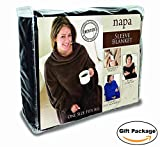 "Napa Deluxe Fleece Blanket with Sleeves And Pockets Zebra, Lounging Super Soft Microplush Adult Wearable Throw Robe for Women and Men - Retail Packaging, 52"" X 70"""