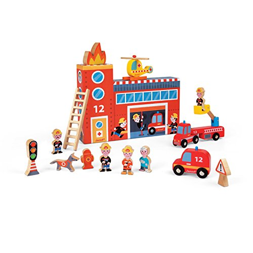 Janod Story Box Firefighters - Fire Truck Toy Story