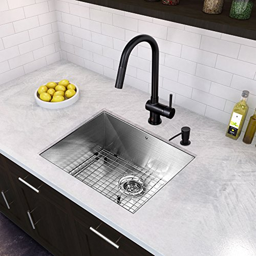 VIGO VG02008MB Gramercy 17 Inch Single Handle Pulldown Arc Brass Kitchen Sink Faucet, Single Hole Install, 360 Swivel Spout, Premium Seven Layer Plated Matte Black Finish (Kitchen Faucet Vigo)