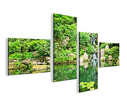 Quadro Moderno Giardino Giapponese Zen 4lp Stampa Su Tela Quadro X