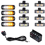 Set 4pcs Amber/White Ultra Slim 12W 4-LED Strobe Light Bar + 8pcs (4 White + 4 Amber) 2-LED Flashing Lamps For Construction Emergency Warning Car Truck 4x4 ATV UTV SUV Van