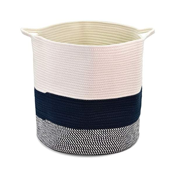 sweetplus Foldable Cotton Rope Basket Laundry Basket – Woven Toy Bin Blanket Storage Basket – Cotton Rope Baskets Organizer Nursery Hamper with Various Handle (Navy, XL)
