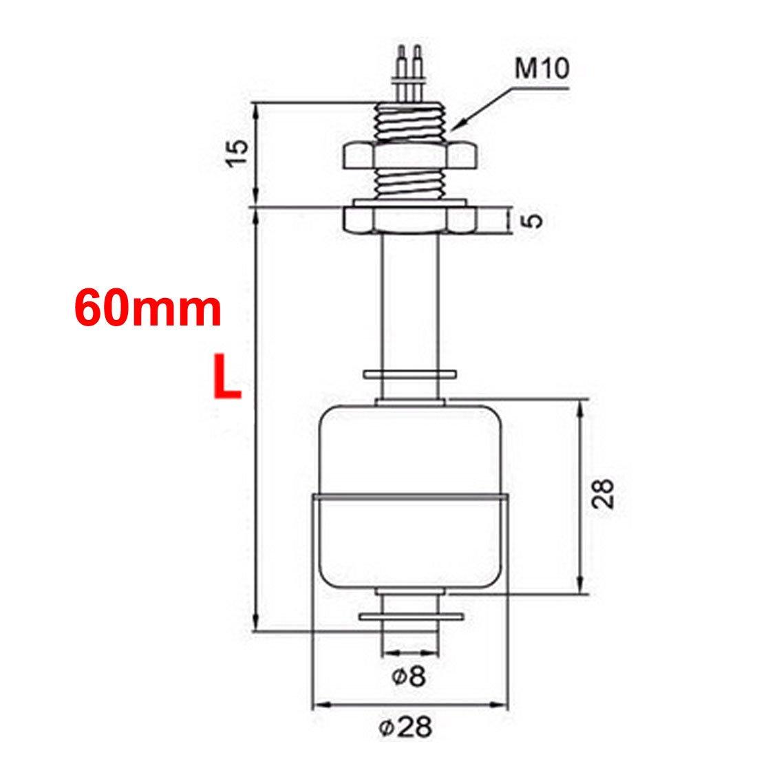 aexit DC100 V 60 mm de nivel de agua sensor Acero Inoxidable Interruptor de flotador Depósito líquido: Amazon.es: Bricolaje y herramientas