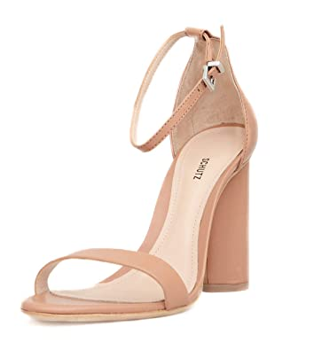7eb91d255 Schutz Jeannine Block Heel Sandals Toasted Nut Nude Leather Ankle Strap  Pump (5.5)