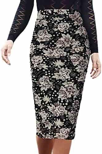 5b7a3a1931 VFSHOW Womens Elegant Ruched Ruffle High Waist Pencil Midi Mid-Calf Skirt