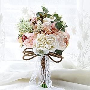 Abbie Home Wedding Bridesmaid Bouquet - 7.5 inches Roses Peony Lily Bridal Flowers for Garden Wedding (B520) 86