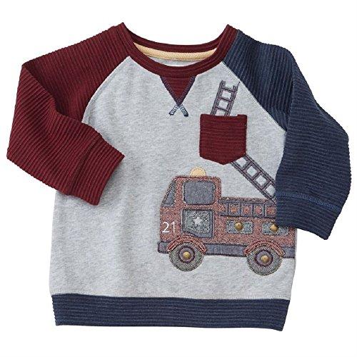 Mud Pie  Baby Boy's Fire Truck Sweatshirt (Infant/Toddler) Blue - Hours Tweed