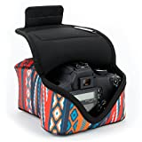 DSLR Camera Case/SLR Camera Sleeve (Southwest) with Neoprene Protection, Holster Belt Loop & Accessory Storage by USA Gear - Works With Nikon D3400/Canon EOS Rebel SL2/Pentax K-70 & Many More
