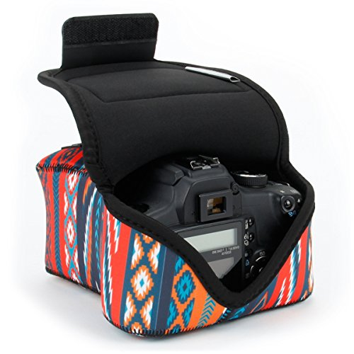 DSLR Camera Case/SLR Camera Sleeve (Southwest) with Neoprene Protection, Holster Belt Loop & Accessory Storage by USA Gear - Works with Nikon D3400 / Canon EOS Rebel SL2 / Pentax (Dslr Carrying Case)