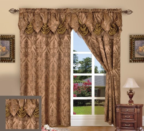 Elegance Linen Beautiful Design Jacquard Look Curtain Panels 55