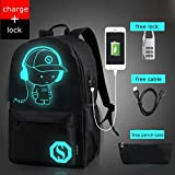 School Canvas Backpack with USB Charging Port and Lock, fashion Glow In The Dark Backpack Laptop Bag Shoulder Day pack Handbag For Boys, Girls, Men, Women, Teen