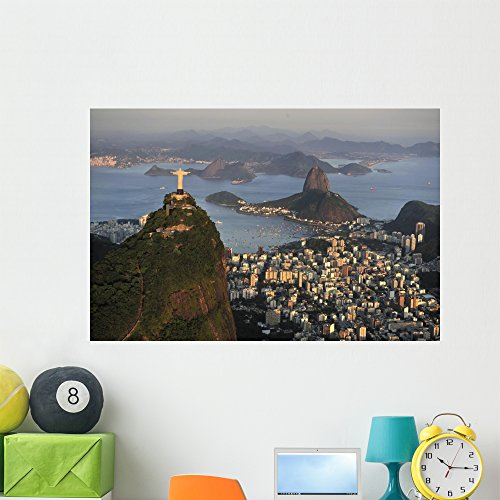 Aerial Christ Sugarloaf Guanabara Wall Mural by Wallmonkeys Peel and Stick Graphic (48 in W x 32 in H) - Sugarloaf Kids