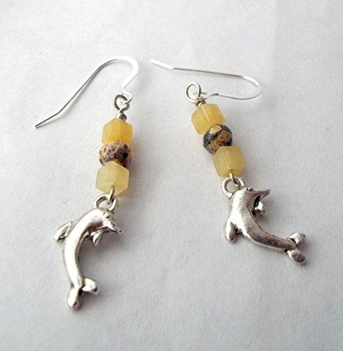 Dolphin with Jade and Jasper Gemstones Dangle Charm Earrings