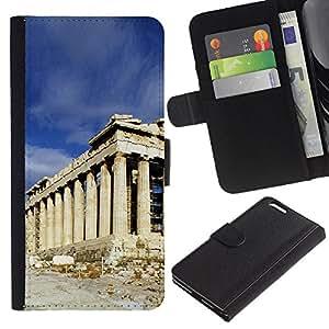 JackGot ( Architettura Antica Roma Edificio ) Apple (5.5 inches!!!) iPhone 6+ Plus / 6S+ Plus la tarjeta de Crédito Slots PU Funda de cuero Monedero caso cubierta de piel